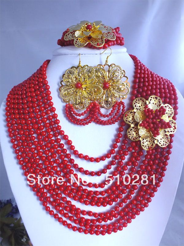 Fashion Beautiful African Wedding Coral Beads Gold Flower Necklace Coral Jewelry Set $85.14