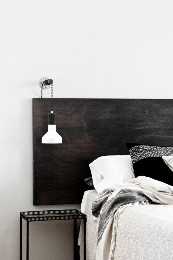 bett kopfteil schwarz elegant weie bettwsche - Bett Backboard Ideen