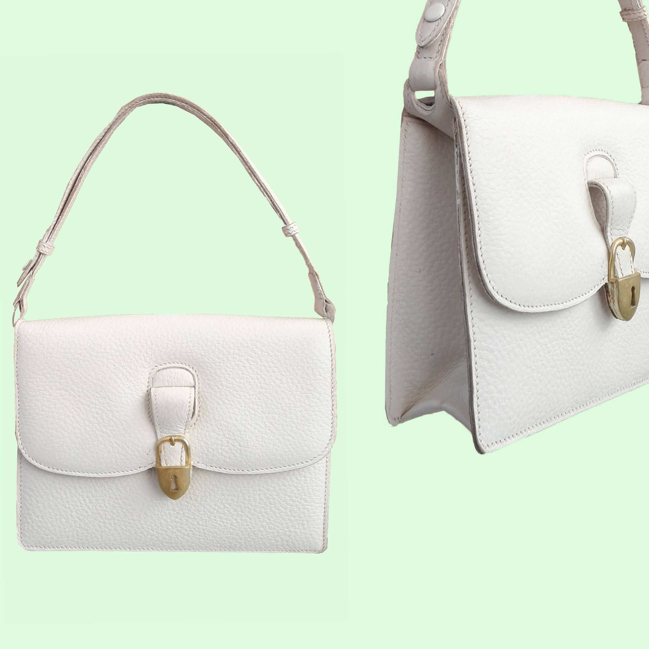6105943f350 GUCCI vintage bag leather handbag white sac tasche borsa ULTRA RARE 50s 60s  - Museum Int. Perfect Conditions