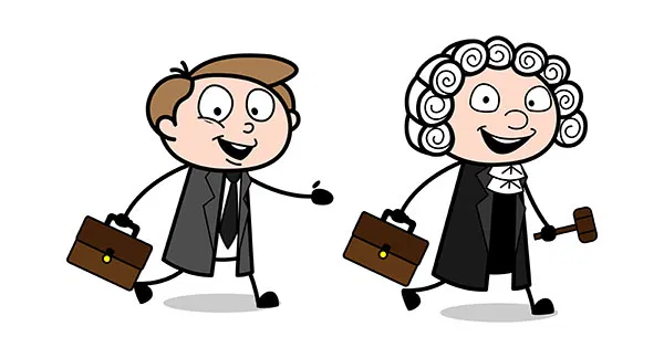 Cartoon Judge And Lawyer Going Back To Their Home After Working