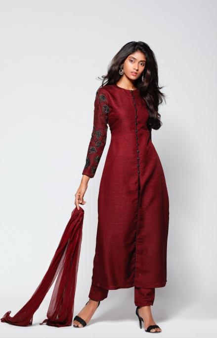 3190ace3b5 Maroon raw silk salwar kameez | Kurti patterns in 2019 | Silk kurti ...