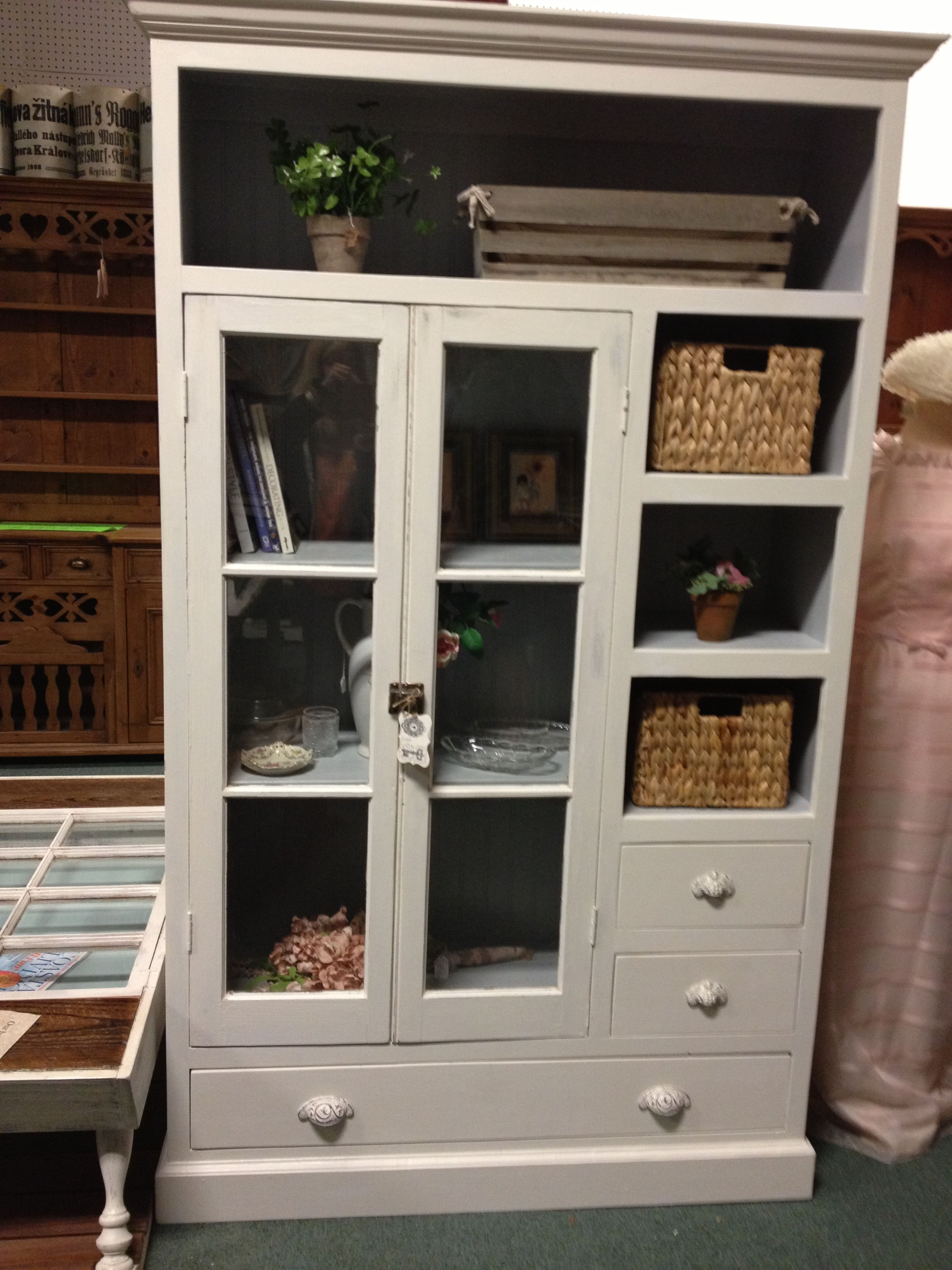Pretty cabinet made with old farmhouse kitchen cabinet glass doors