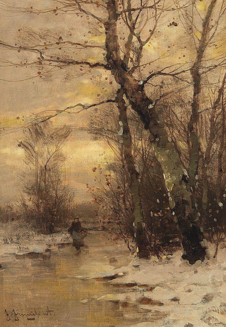 A River Landscape In Winter Johann Jungblut Germany 1860 1912 Winter Scene Paintings Landscape Art Landscape Paintings