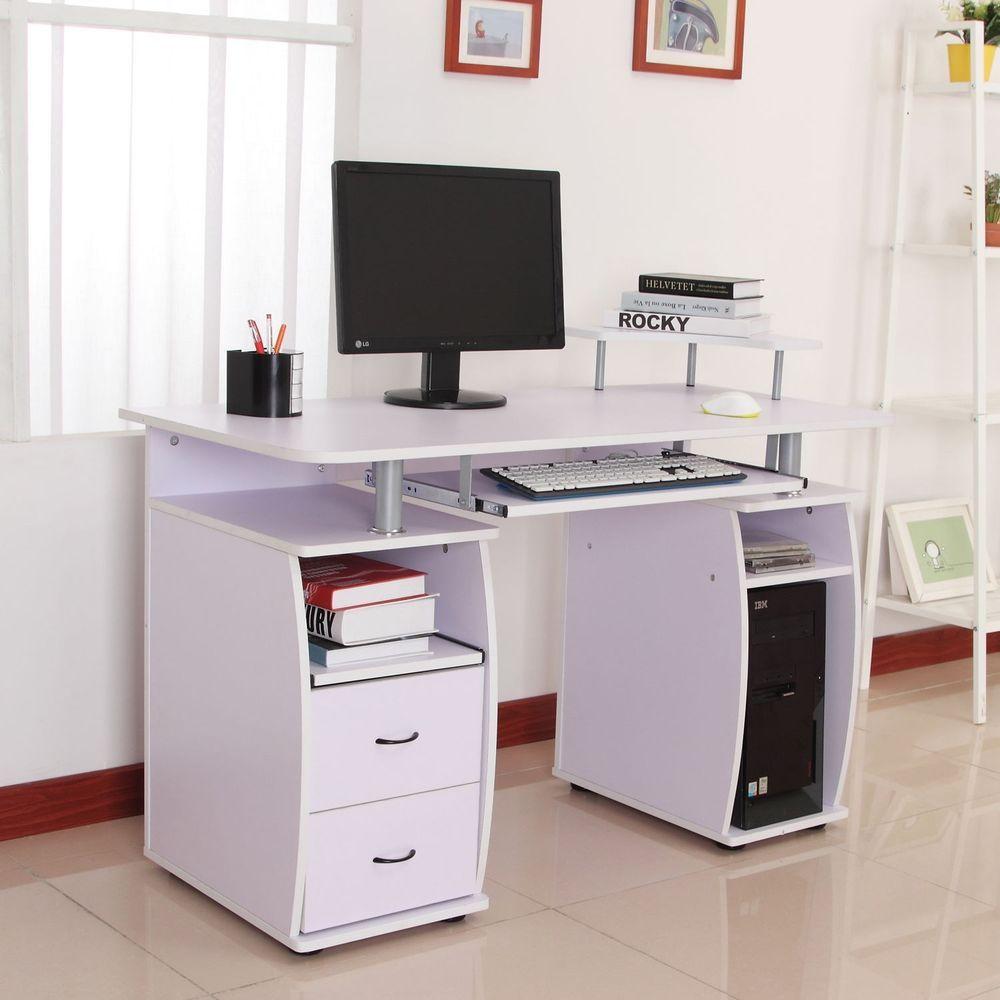 - Multilevel Computer Desk Shelves Storage Wooden Brown Office Home