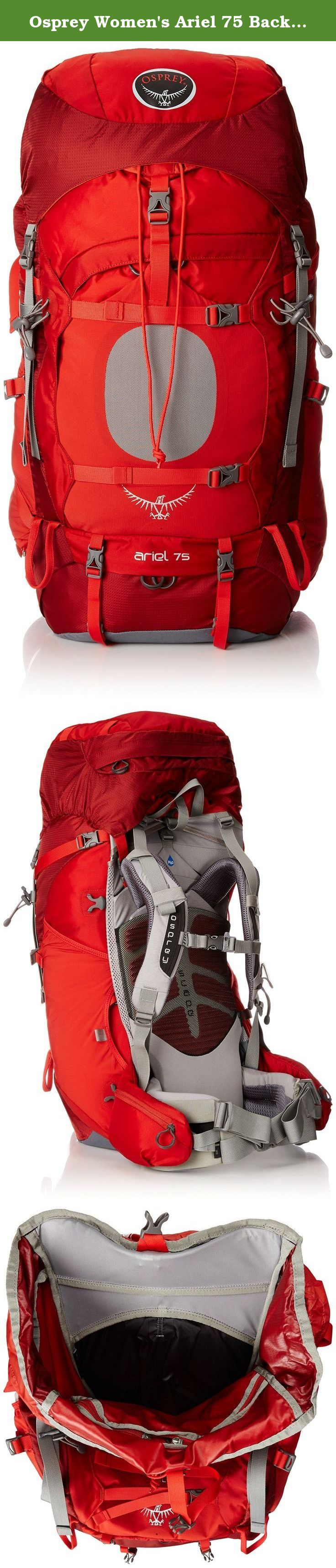 Osprey Women's Ariel 75 Backpack, Vermillion Red, X-Small. The bestselling backpacking series on the market just got even better. Known for its ability to be taken all over the world, from the summit of Everest to a backpack trip through your local wilderness, the fourth generation of Aether/Ariel builds upon its reputation for combining clean design, custom fit and outstanding load carrying comfort. Amongst a plethora of upgrades, the new IsoForm⁴ CM™ hipbelt adds stiffness and padding…