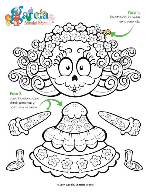 Dos calaveritas para pintar | Spanish class | Pinterest | School ...