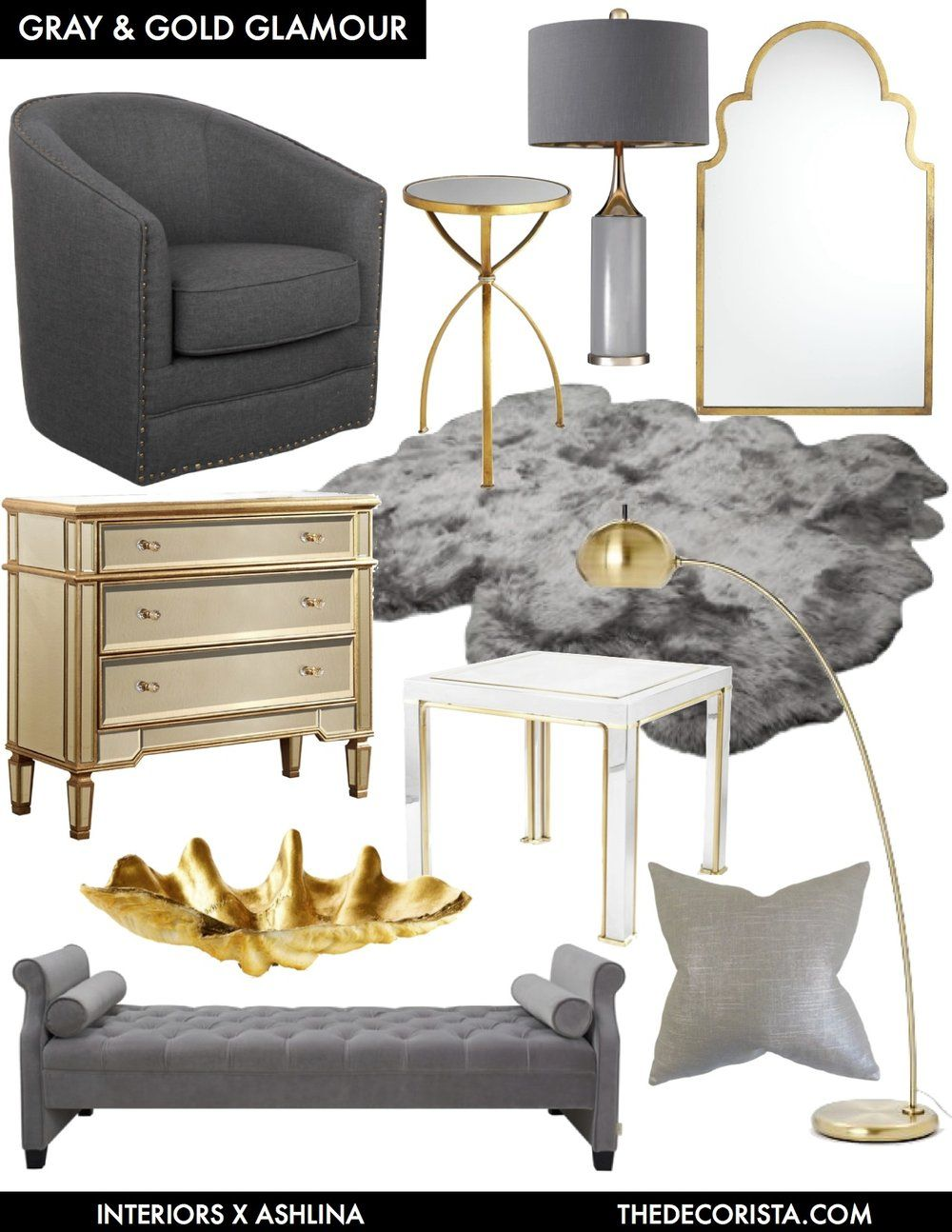 Color Crushing Decorating With Gray And Gold For Glamour Ashlina Kaposta Grey And Gold Bedroom Gold Living Room Gold Bedroom