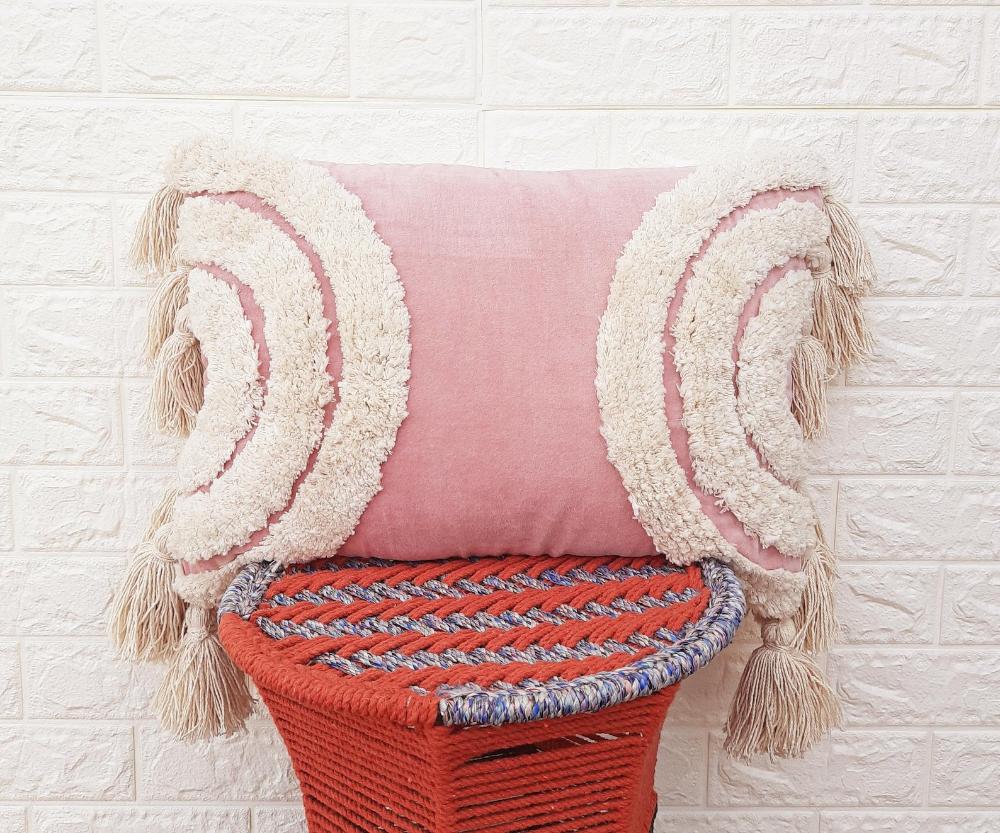 pink ivory tassel pillow cover boho