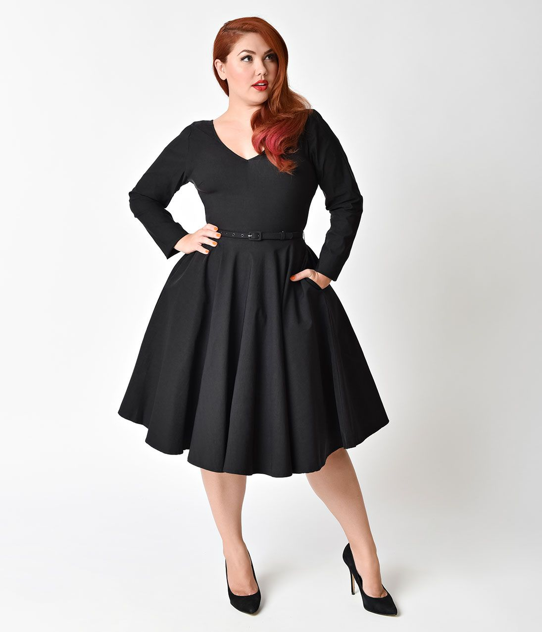 13a721d25 Plus Size Retro Dresses| Swing, Rockabilly, Pinup Dresses Unique Vintage  Plus Size 1950s Black Stretch Long Sleeve Maude Swing Dress $98.00 AT ...