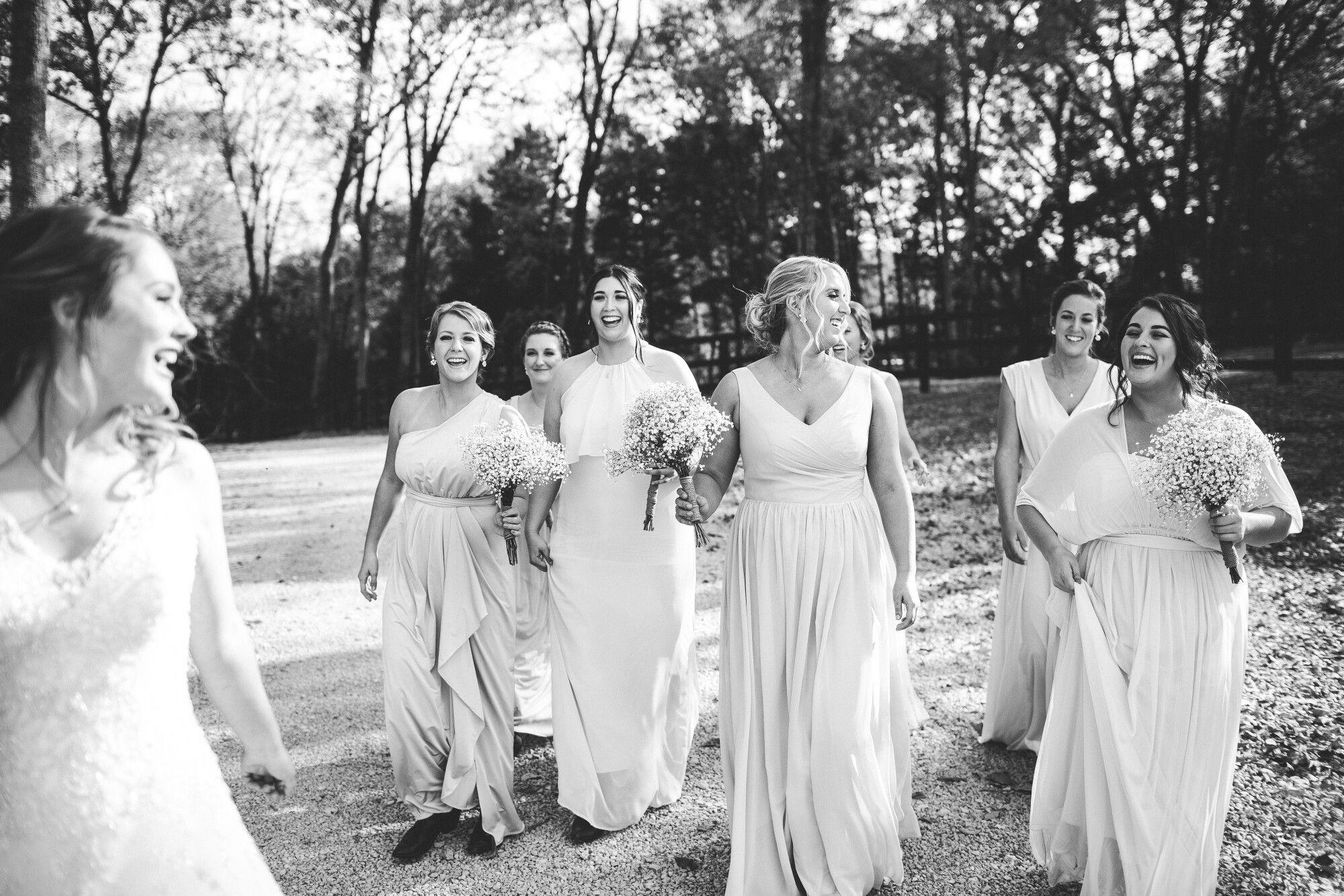 Fall Rustic Wedding in Lebanon TN. Bridesmaids in nude blush long ...