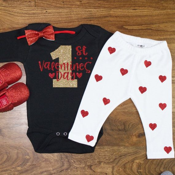 My First Valentines Day Outfit My 1st Valentines Day Onesie W Red