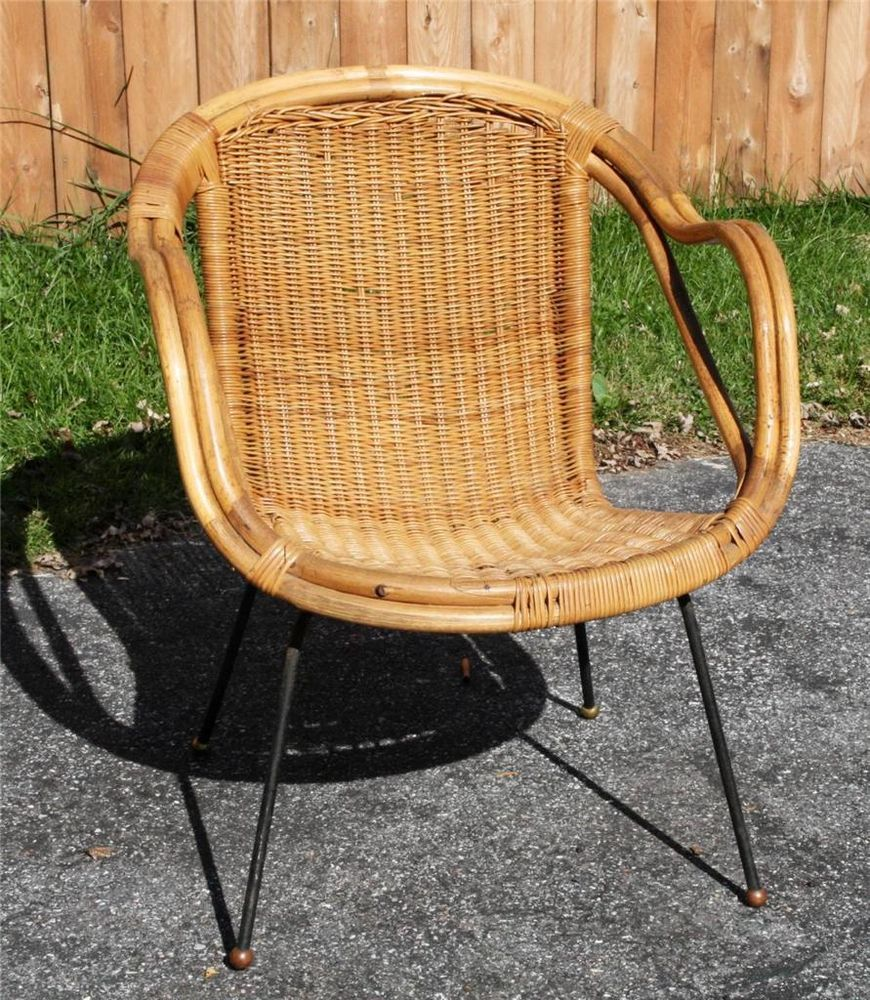 Vintage rattan rocking chair - Mid Century Modern Chair Wicker Bamboo Rattan Mccobb Iron Leg Vtg 50s 60s Tiki