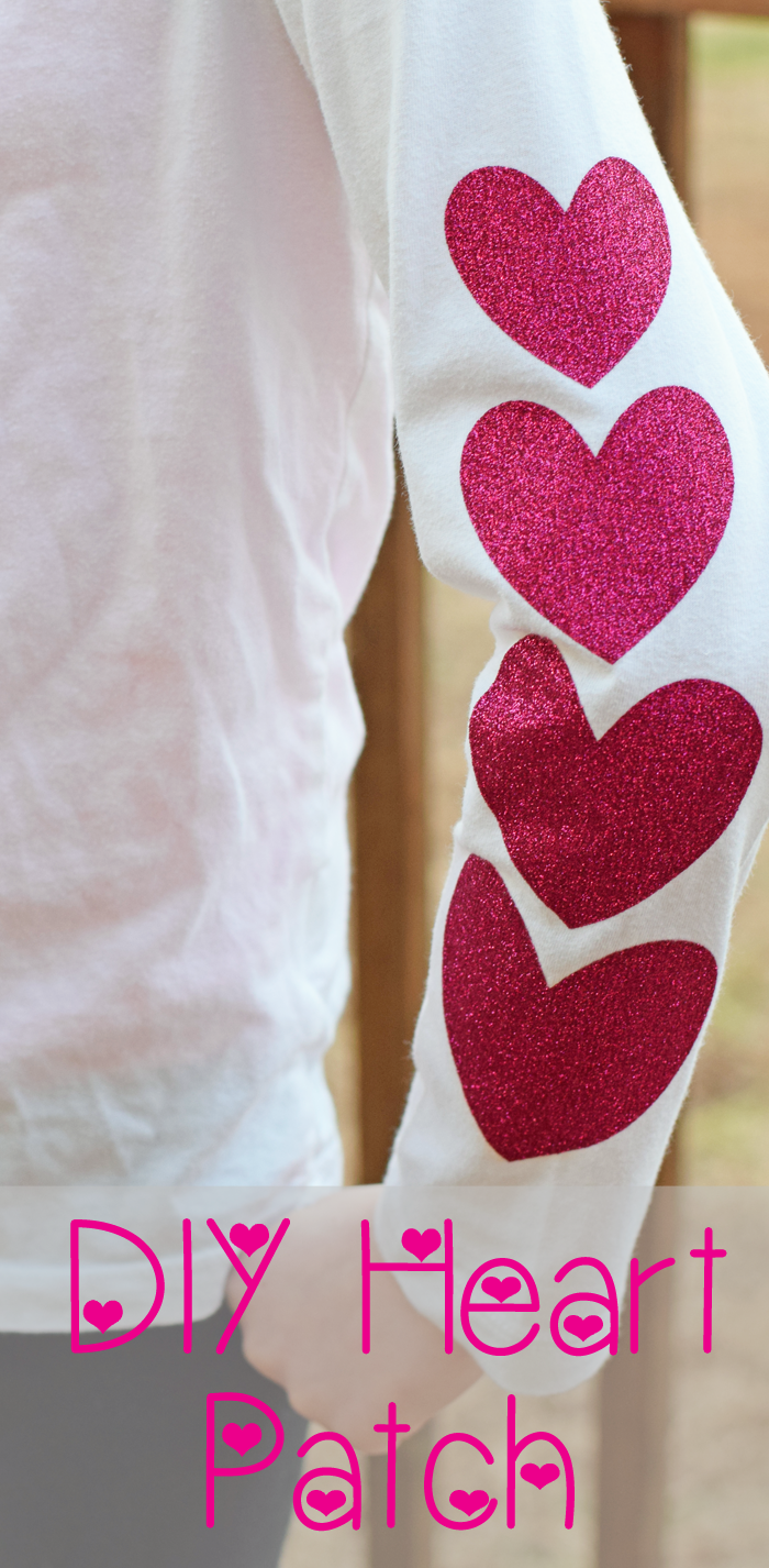 Add A Pretty Diy Heart Patch For Sleeves With The Cricut Machine And Iron On Glitter Vinyl To Embellish A Shirt Or To Cover Up Diy Hearts Heart Patches Patches