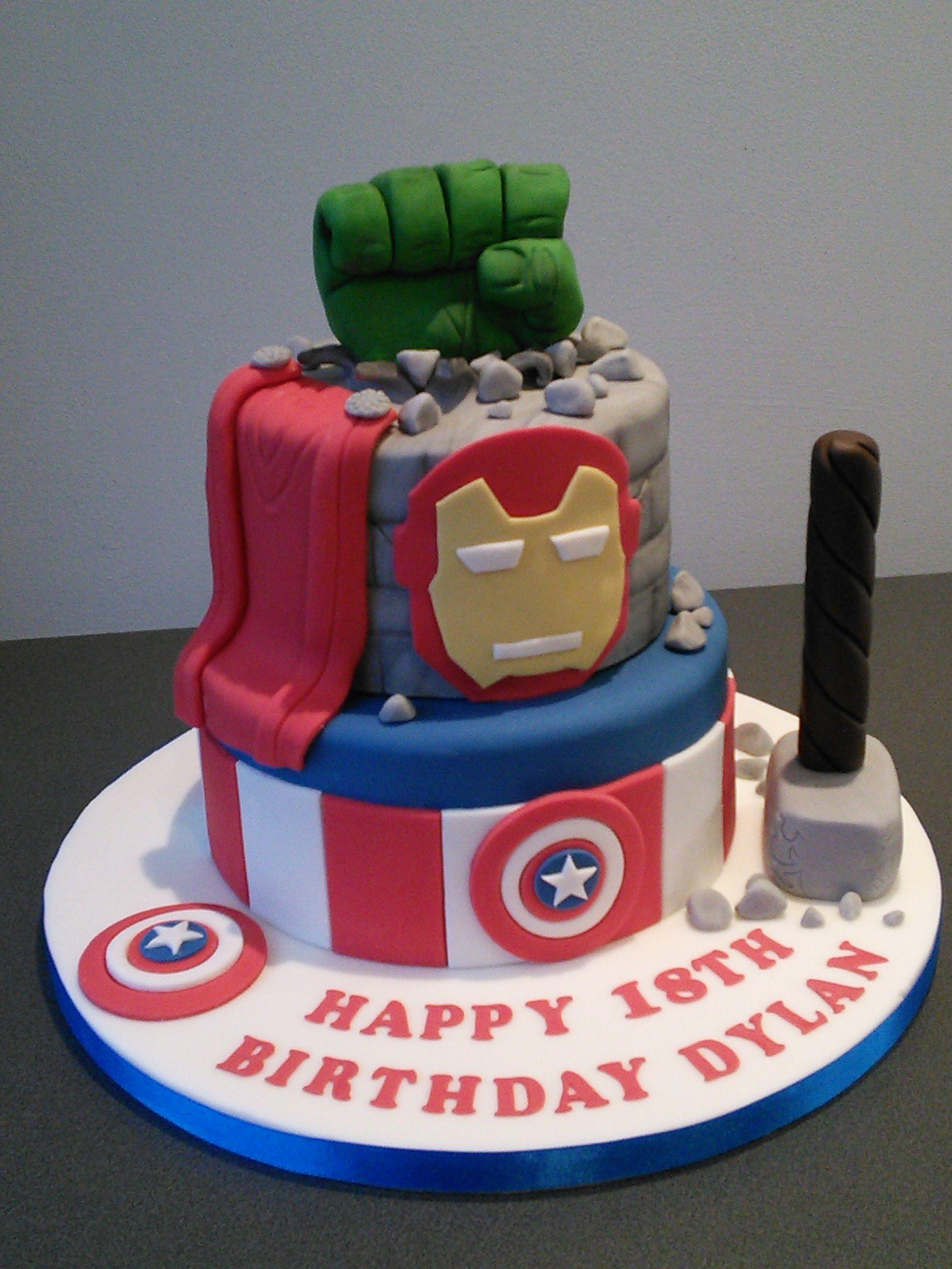 Marvel Superhero 18th Birthday Cake With Captain America Thor And