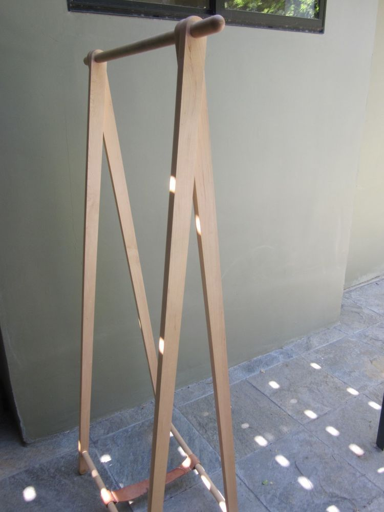 DESIGN WITHIN REACH WOOD & LEATHER FREE STANDING CLOTHES RACK #DesignWithinReach #Modern