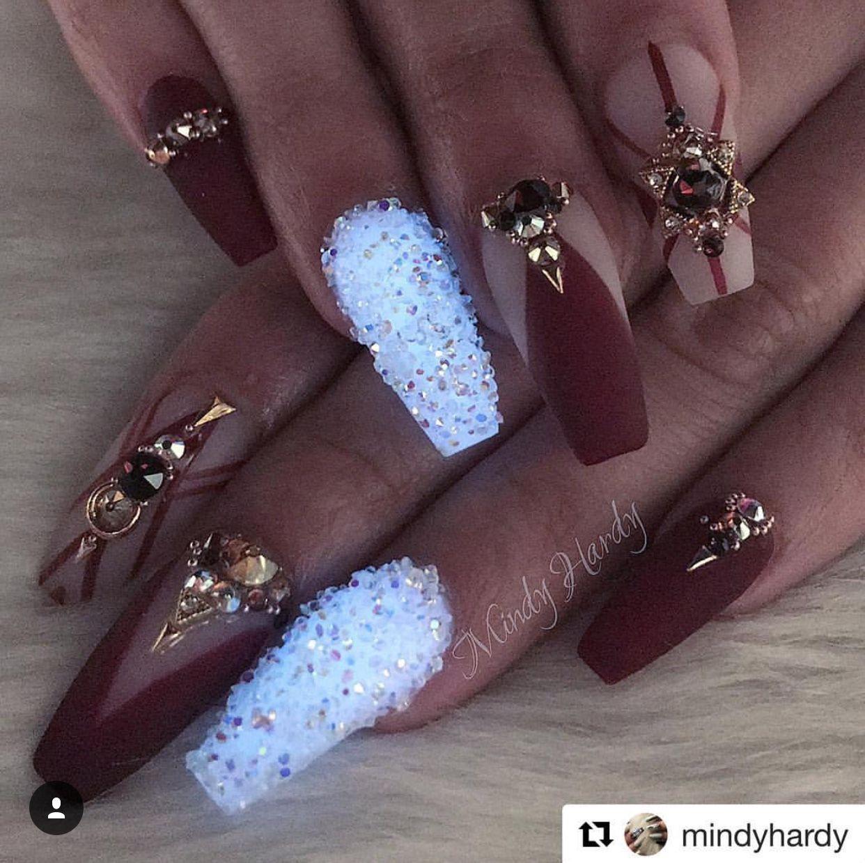 Burgundy white Nails | Nail Design | Gold Nail Art | Valentines Day ...