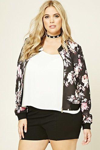 8f252720c8666 Plus Size Floral Bomber Jacket