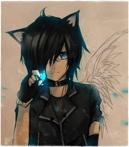 Blue Fire Cute Anime Cat Anime Cat Boy Anime Cat