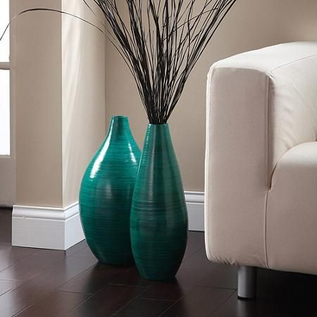 Elegant Expressions By Hosley Rounded Bamboo Vase Teal