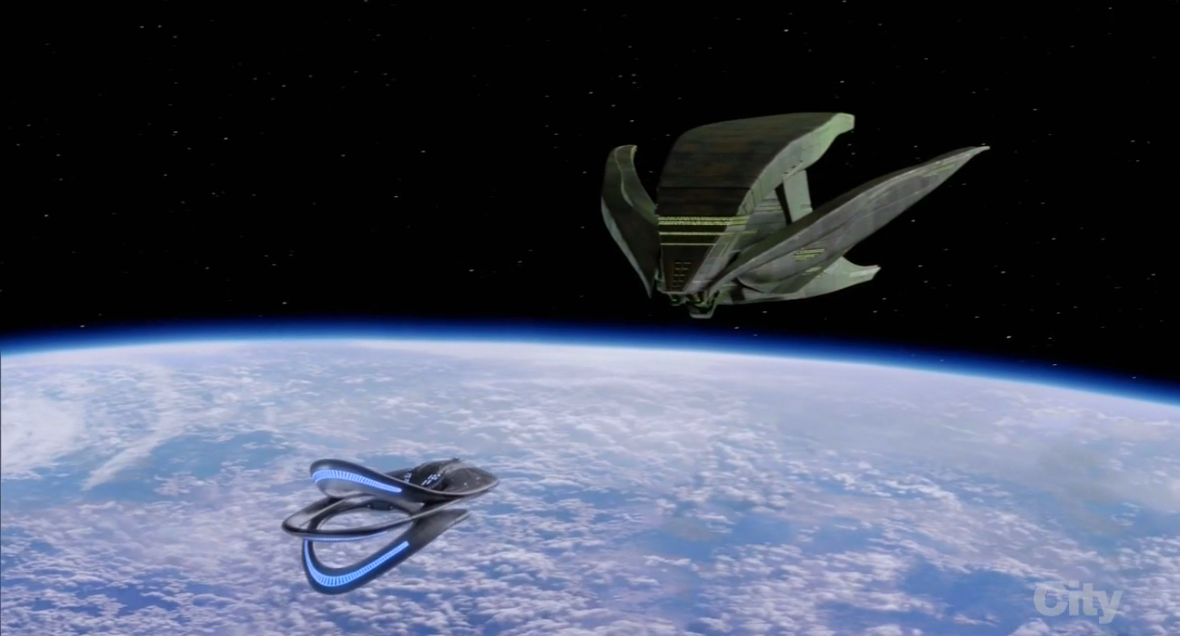 The USS Orville faces off against a Krill ship