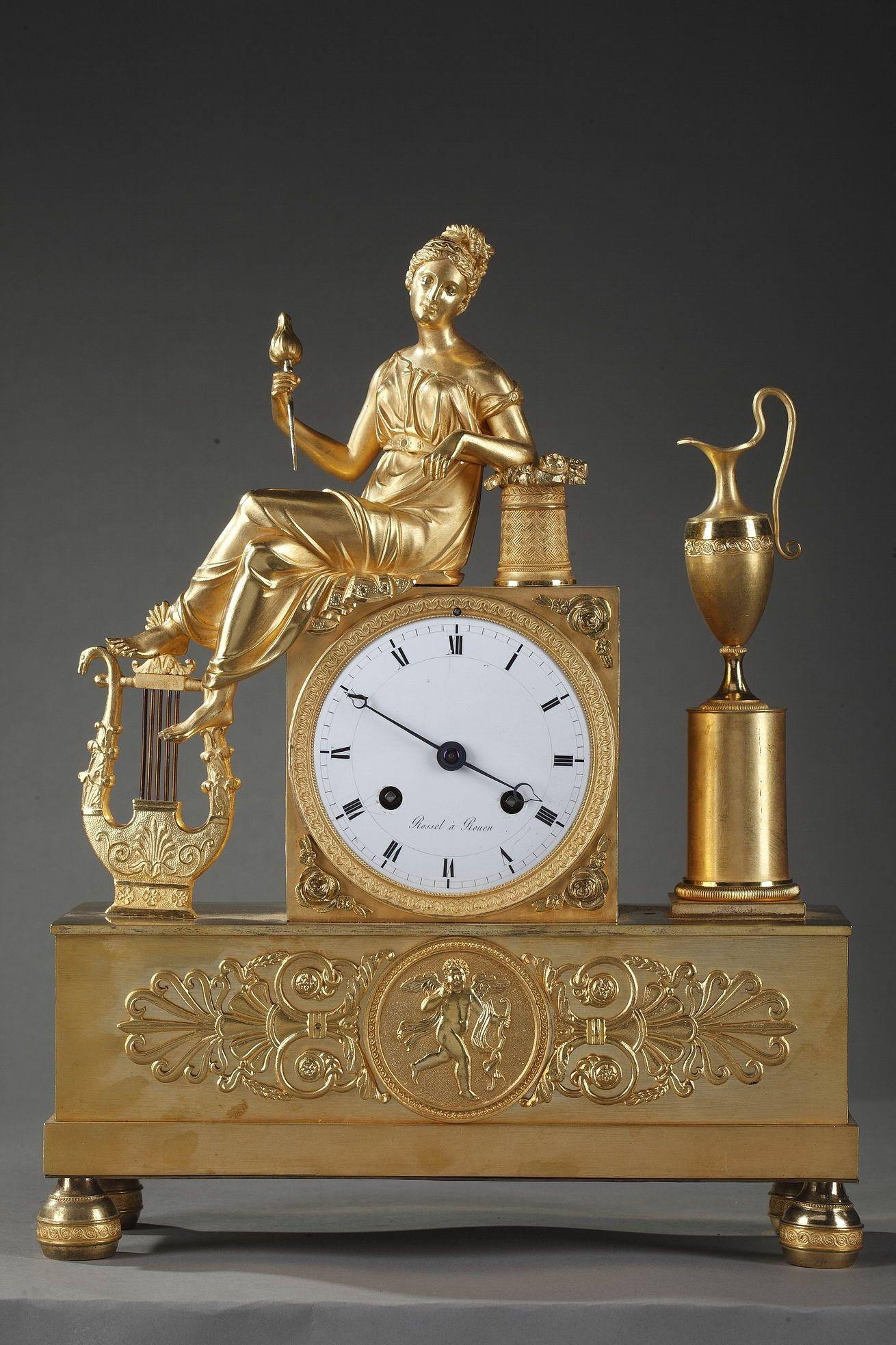 Empire Clock The Spinner By Rossel In Rouen Pendulum Clock Clock Antique Clocks