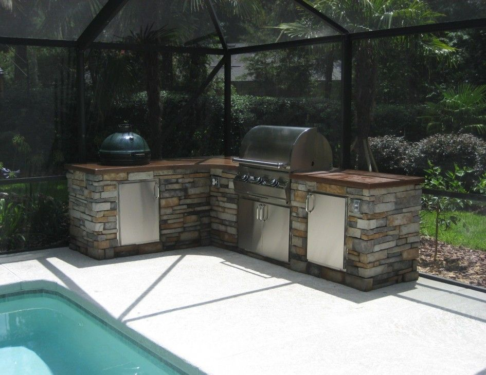Terrific Outdoor Kitchen Designs Houzz With Green Egg Charcoal Grill For And Dark Brown Concrete Countertops Also Weber Built In