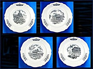 "WEDGWOOD FEDERAL CITY PLATES, Set of 4, Black Transfer Federal City, The pattern by Wedgwood China  Wedgwood Federal City Plates 10-1/2in Diameter Set of 4 Vintage China. Color: White/Black.  Included in this complete set are:  1. Panorama of ""The Federal City""  2. The Capitol  3. The White House  4. The Supreme Court"