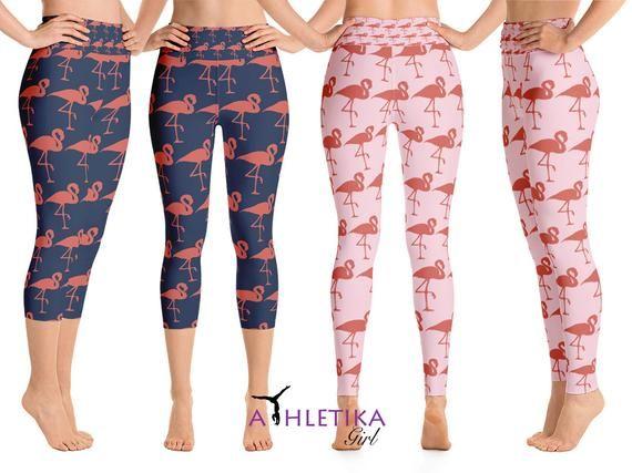 45cec6ae5bf4f5 Flamingo Leggings Womens Capri Yoga Workout High Waisted Print Birds Running  Gym Sports Gear Pilates Yoga
