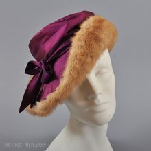 Mink & Iridescent Plum Silk Slouch Hat / Beret 1940s - 50s -- Something for everyone at RubyLane.com -- Check us out this holiday season for antique and vintage gifts for the woman on your list who has everything.