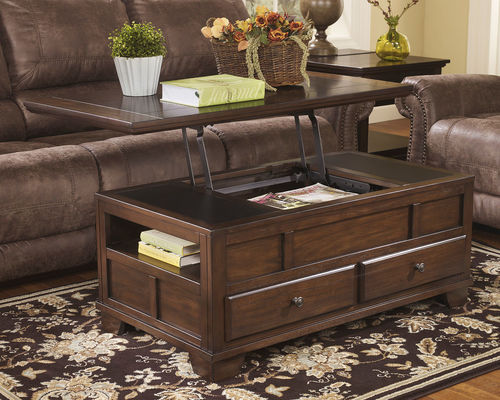 Gately Medium Brown Lift Top Cocktail Table Dark Wood Coffee Table Coffee Table