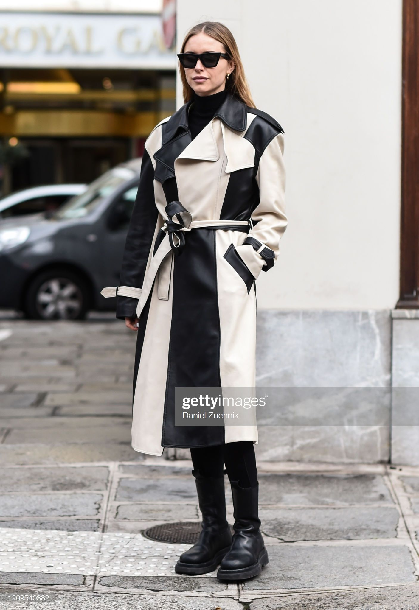 News Photo : Pernille Teisbaek is seen wearing a black and...