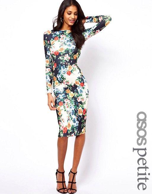 PETITE – Exklusives, figurbetontes Kleid mit Blumenmuster   Asos ...
