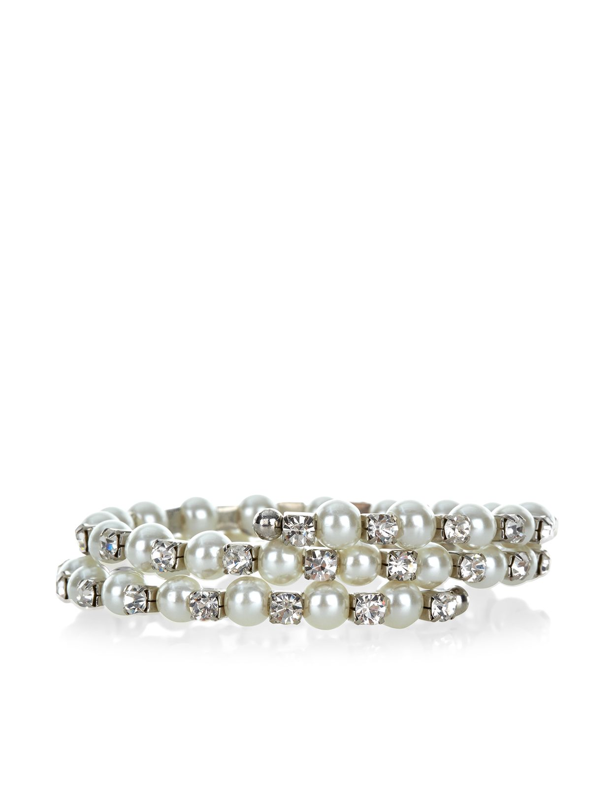 Pearl and Crystal Wrap Around Bracelet | Nude | Accessorize