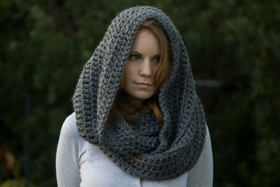 Knitting Scarf Patterns Infinity Scarf : Crochet pattern oversized hooded infinity scarf by wellravelled