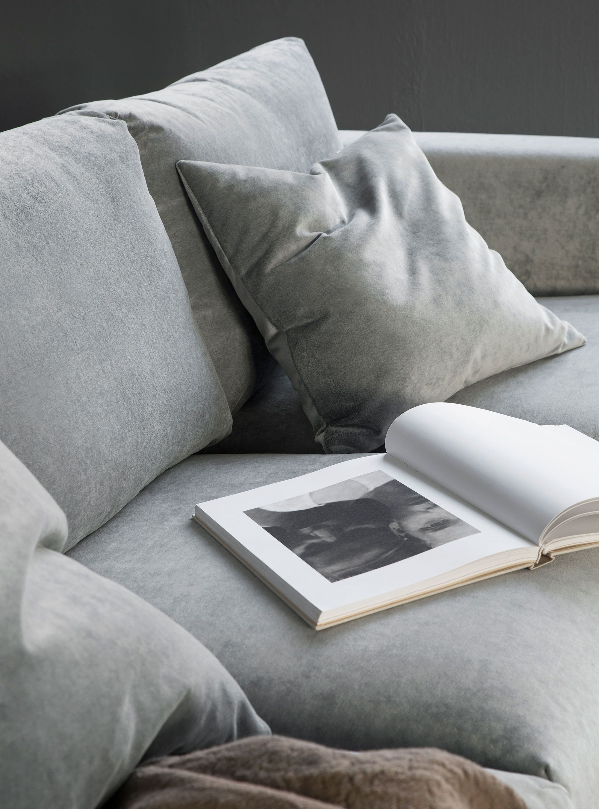 Moody Shades Grey Velvet Sofa Scandinavian Minimalism Ikea Vimle With A Bemz Cover In Zinc Malmen Styled By Pella Hedeby
