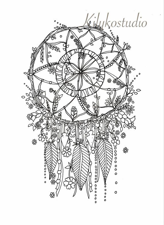 dream catcher botanical wildflower adult coloring page