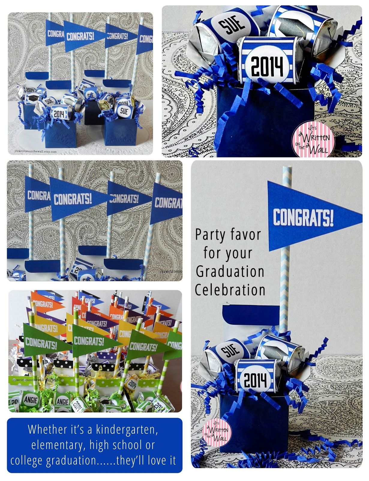 It S Written On The Wall Unique Graduation Party Favor Ideas Personalized Favors Candy Bluewraps Hershey