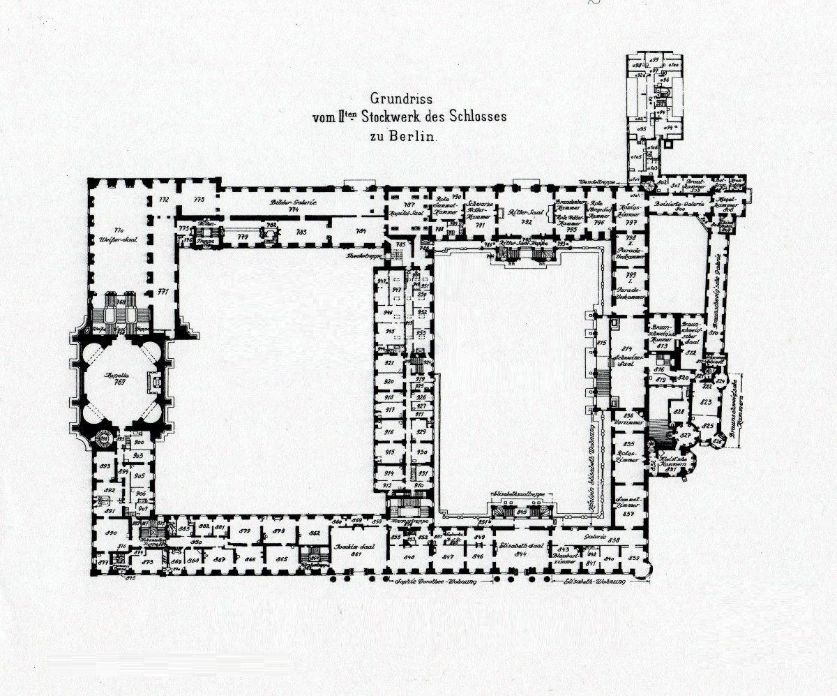 Royal Palace Berlin 1933 Second Floor Plan Berliner Schloss Schloss Stadtschloss