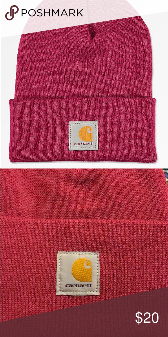 bf5ea206409 Carhartt watch raspberry pink beanie Watch Raspberry Beanie from Carhartt.  Tight knit construction. Logo patch at the front. 100% acrylic. Made in the  USA.