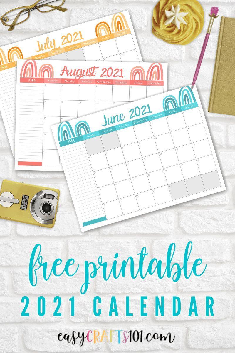 Free 2020 Easy Printable Christmas Organizer Free Printable 2021 Rainbow Calendar   Easy Crafts 101 in 2020