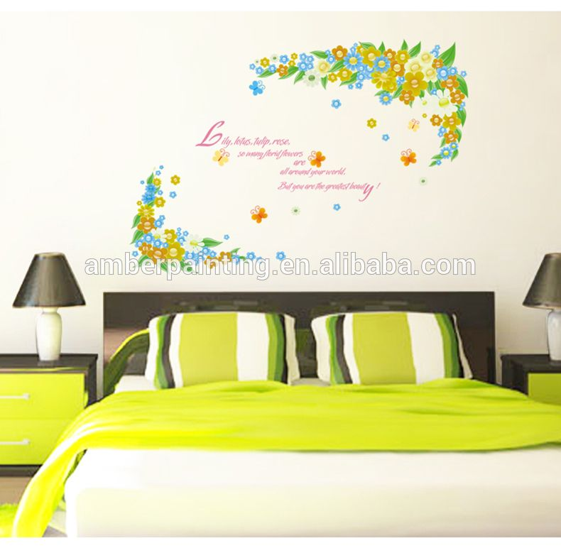 small flower wall stickers for dorm or bathroom | wall sticker plant