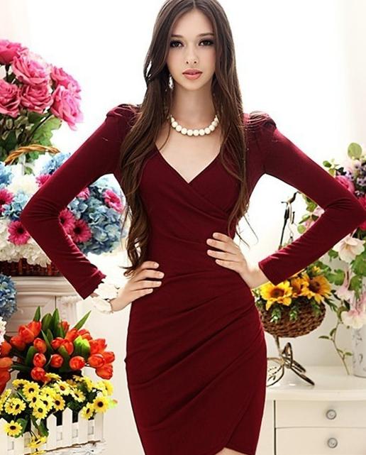 0552d69adae Vestido color Vino cuello V manga larga | Vestidos fiestas ...