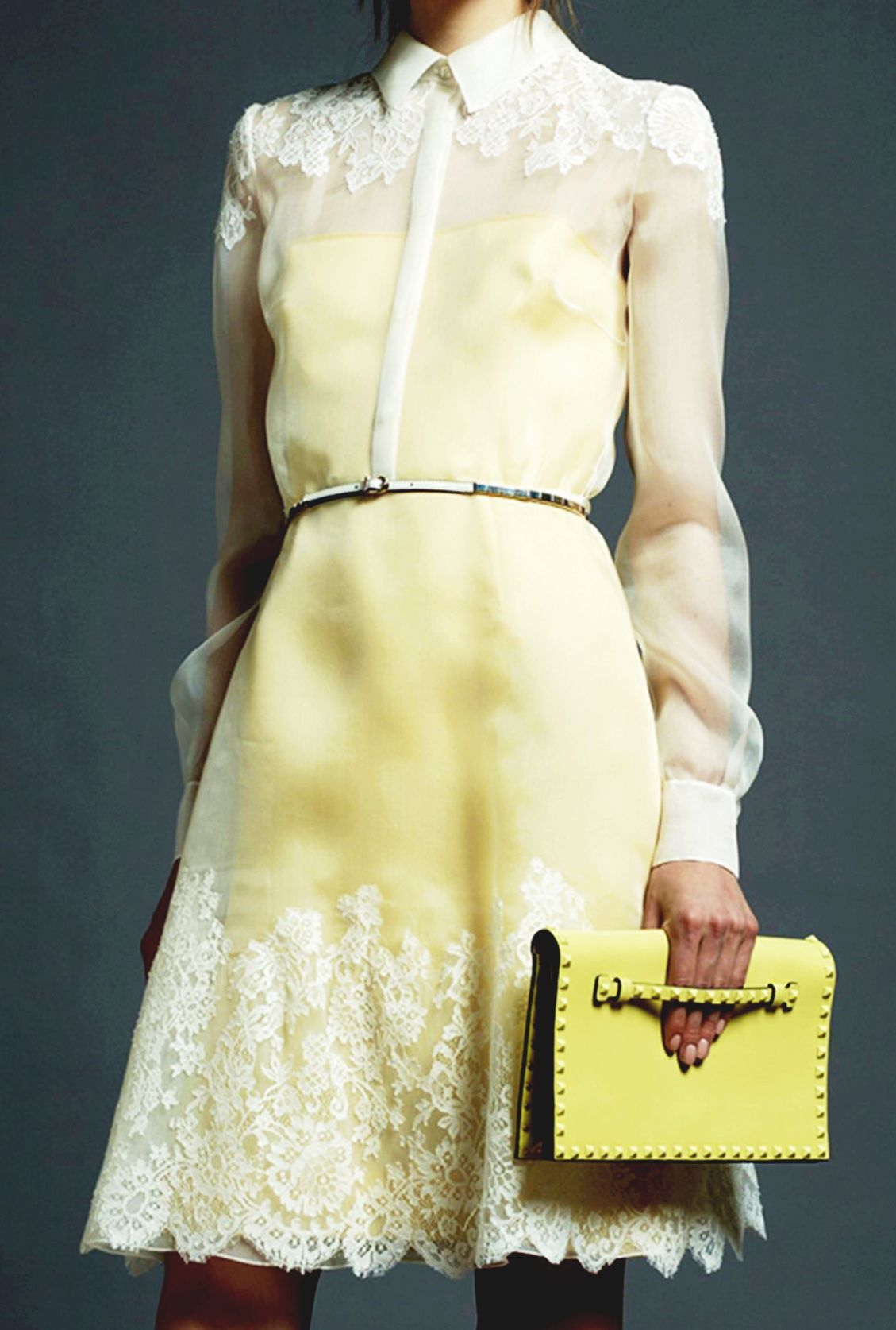 Vintage inspired chiffon and lace long sleeve dress with lemon