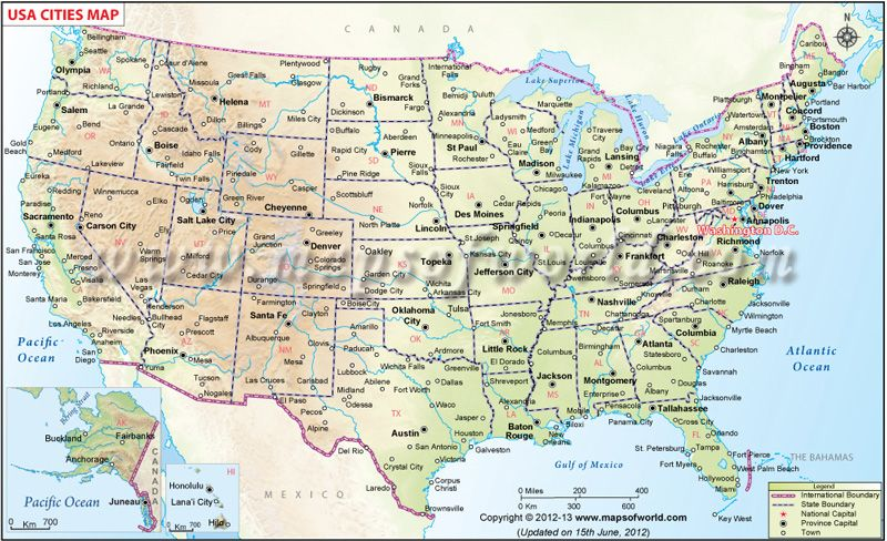 US Map showing all the major cities of all these 50 states ...