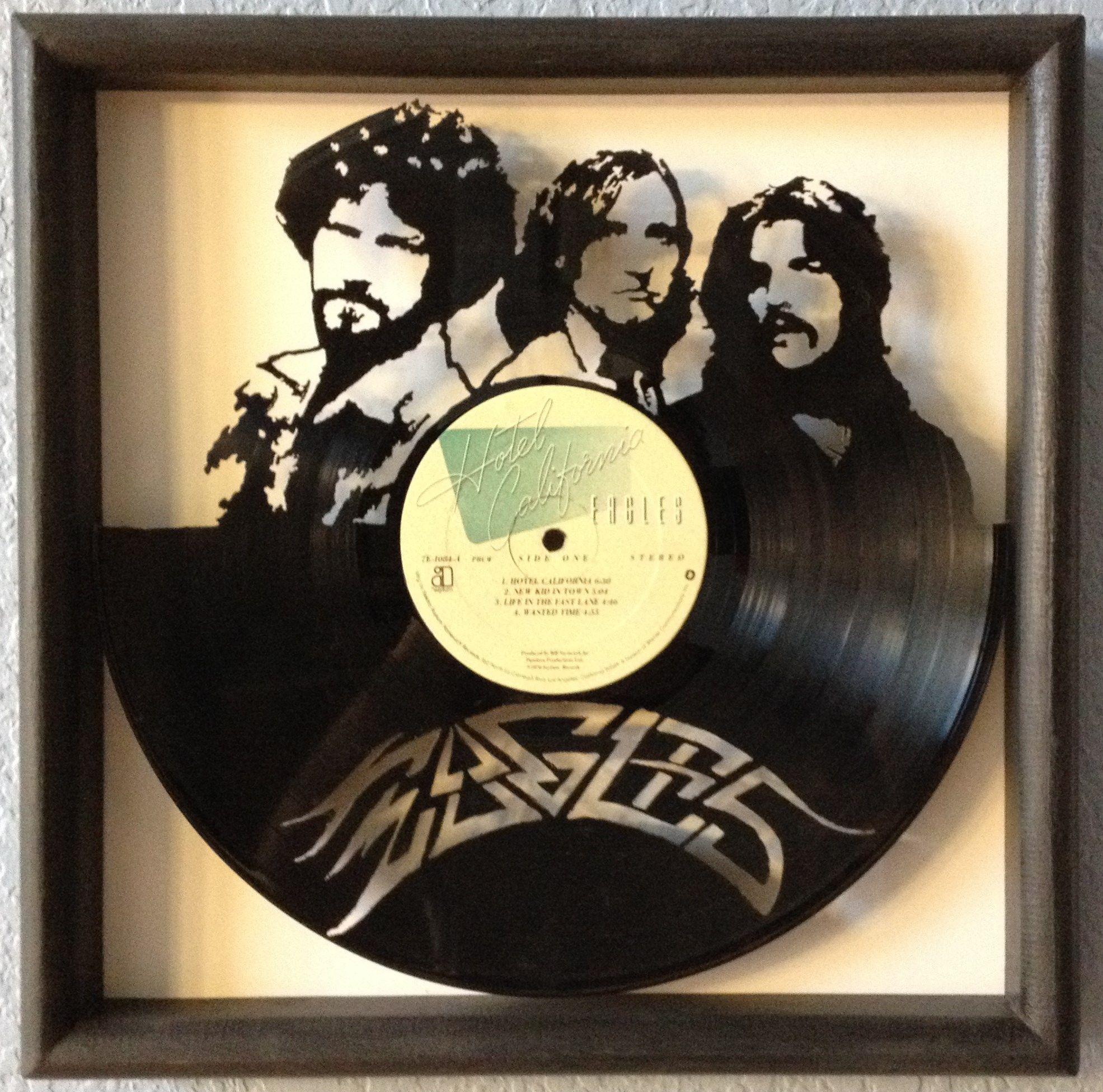 "The Eagles ""Hotel California"" hand cut framed vinyl LP ..."