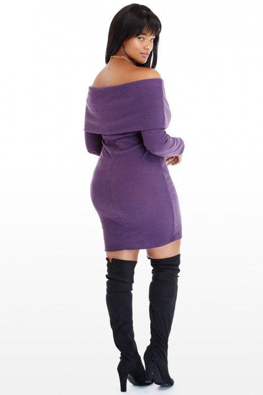 e8115bc0c0f1 Plus Size Kita Off-Shoulder Sweater Dress