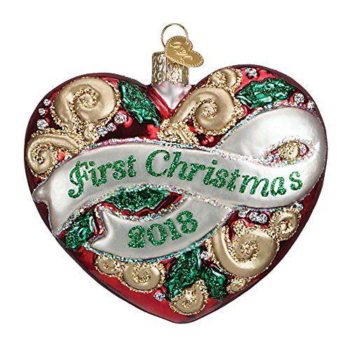 2018 First Christmas Heart Glass Blown Ornament Christmas