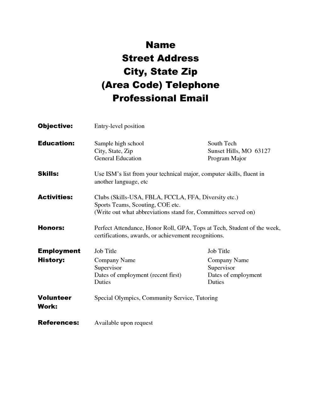 Cute Resume Skills List For High School Students Images Entry