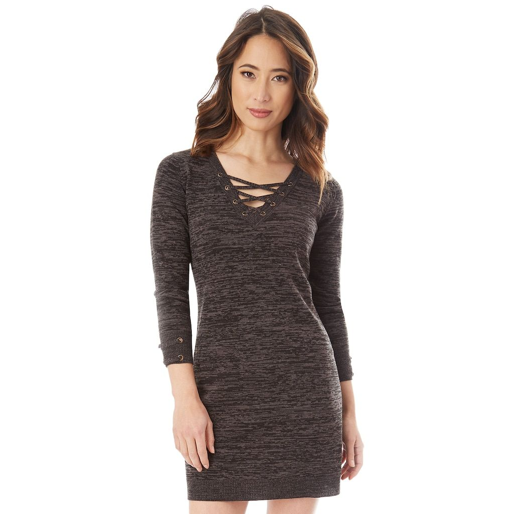 Juniors\u0027 IZ Byer Lace,Up Sweater Dress
