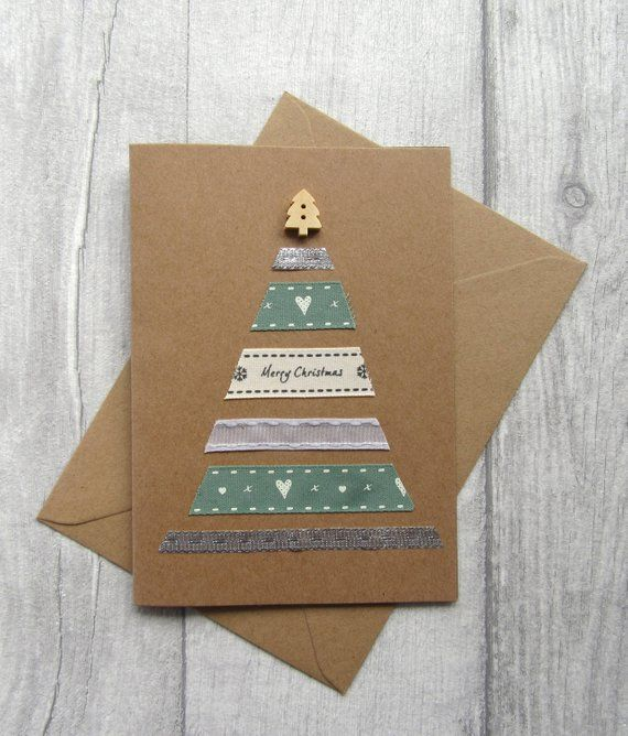 Christmas Tree Card, Holiday Card, Xmas Card, Festive Card, Seasons Greetings, Merry Christmas, Christmas Cards PackKraft Card, #howtoputribbononachristmastree